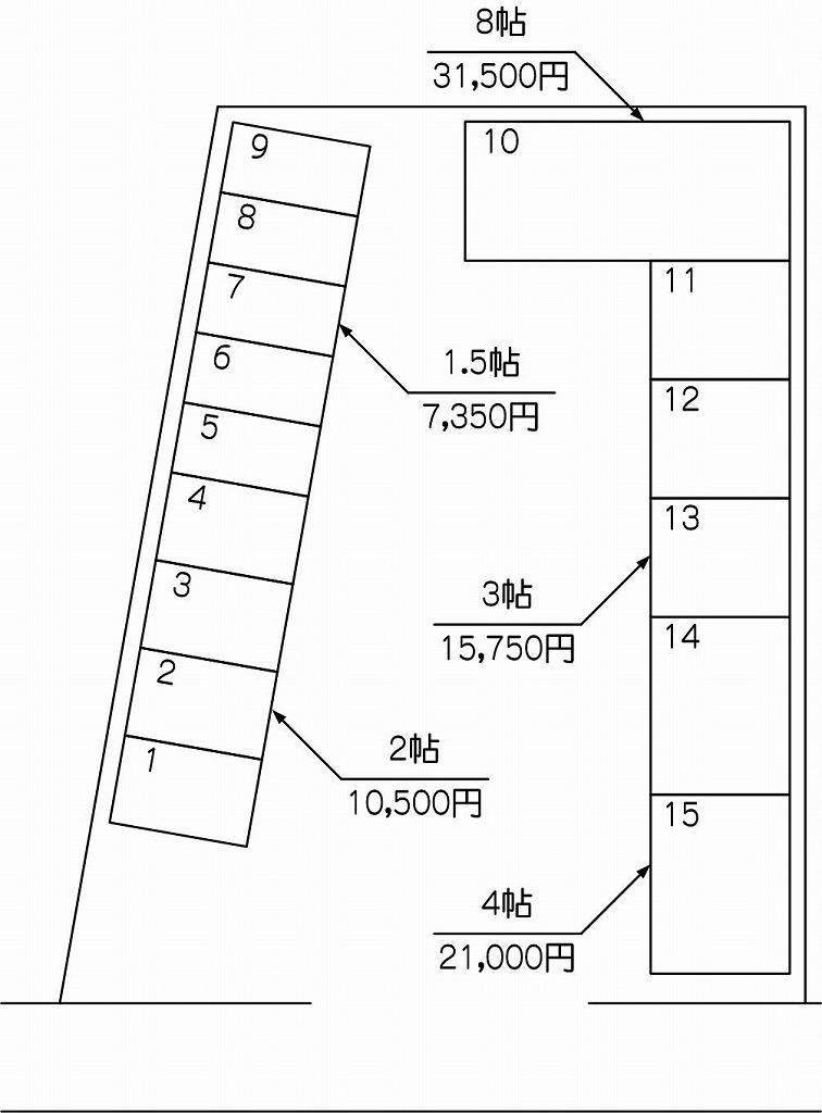 朝霞田島店の配置図