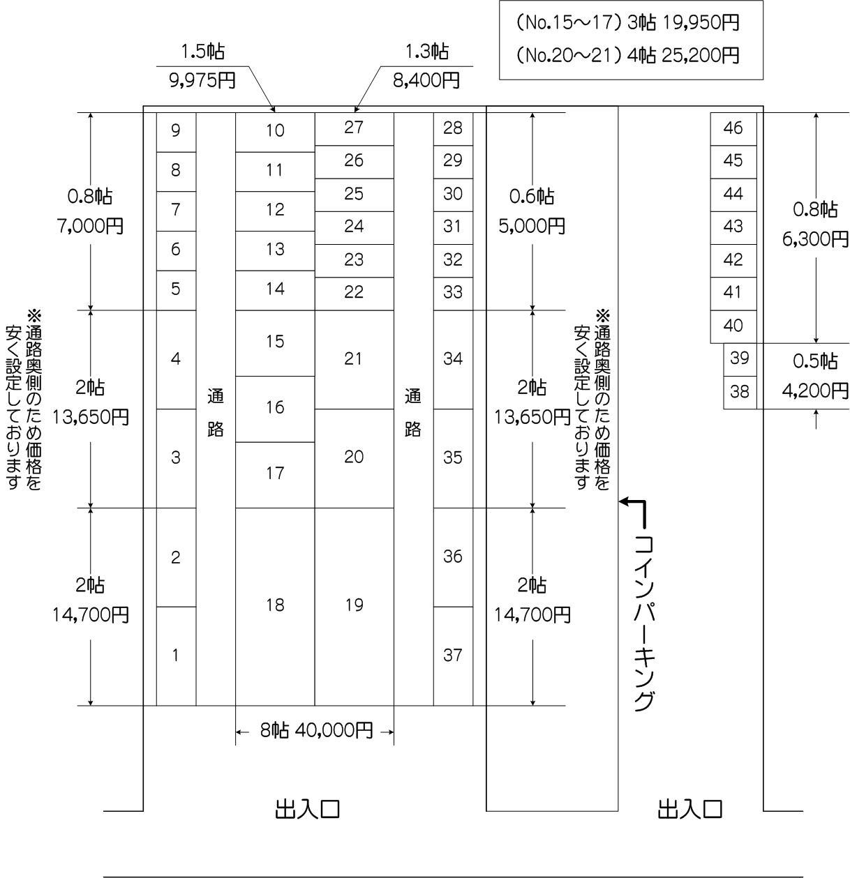 喜沢南中央通り店の配置図