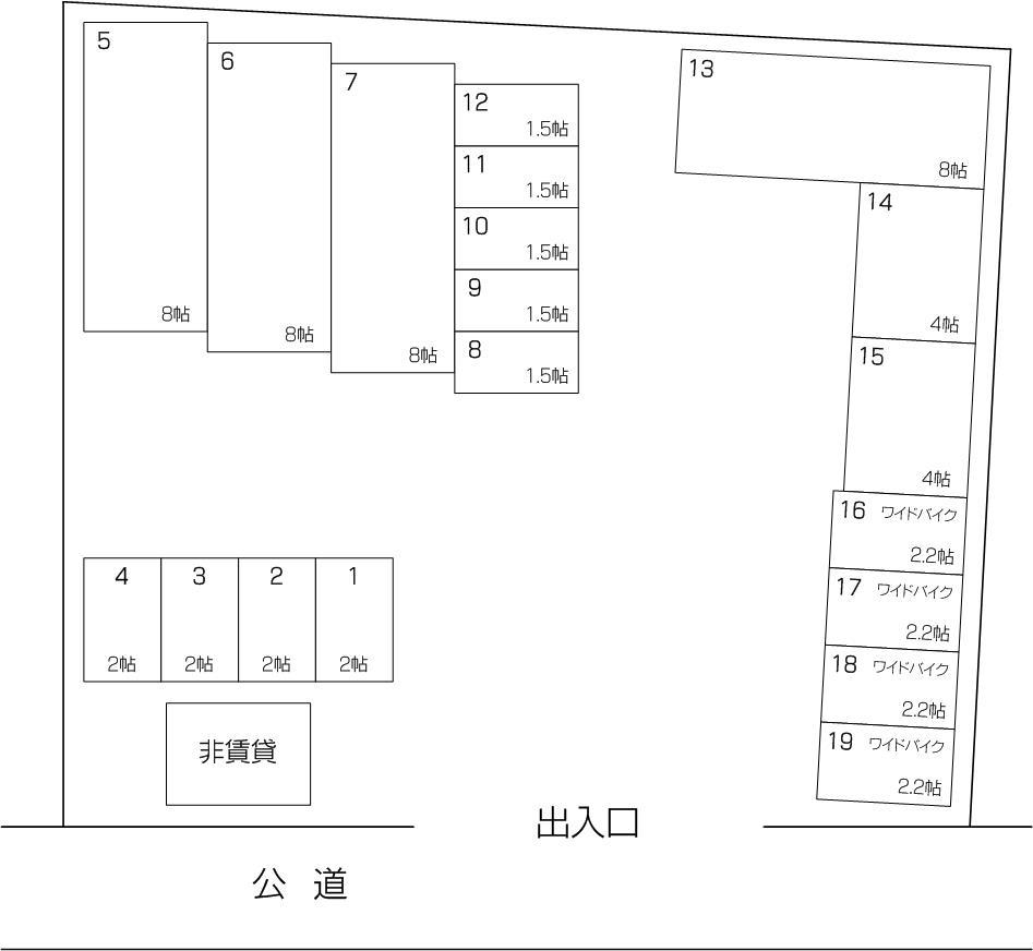 フクちゃんコンテナ喜沢店の配置図