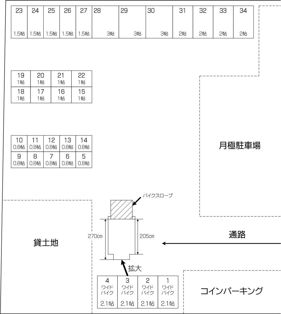 平和アウトレットコンテナ下戸田店の配置図