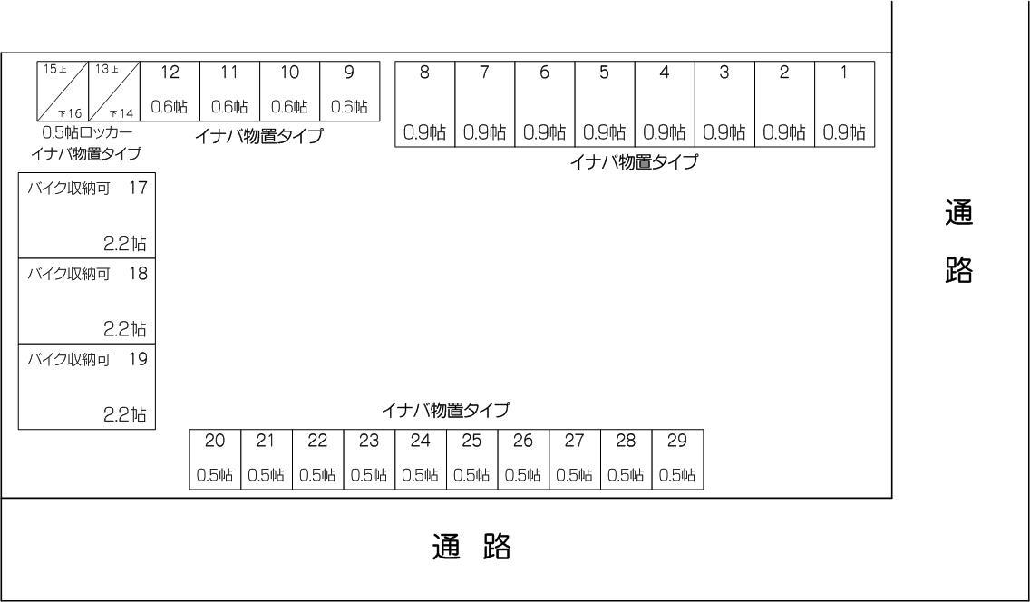 レンタルスペースi オルテ笹目7丁目店の配置図