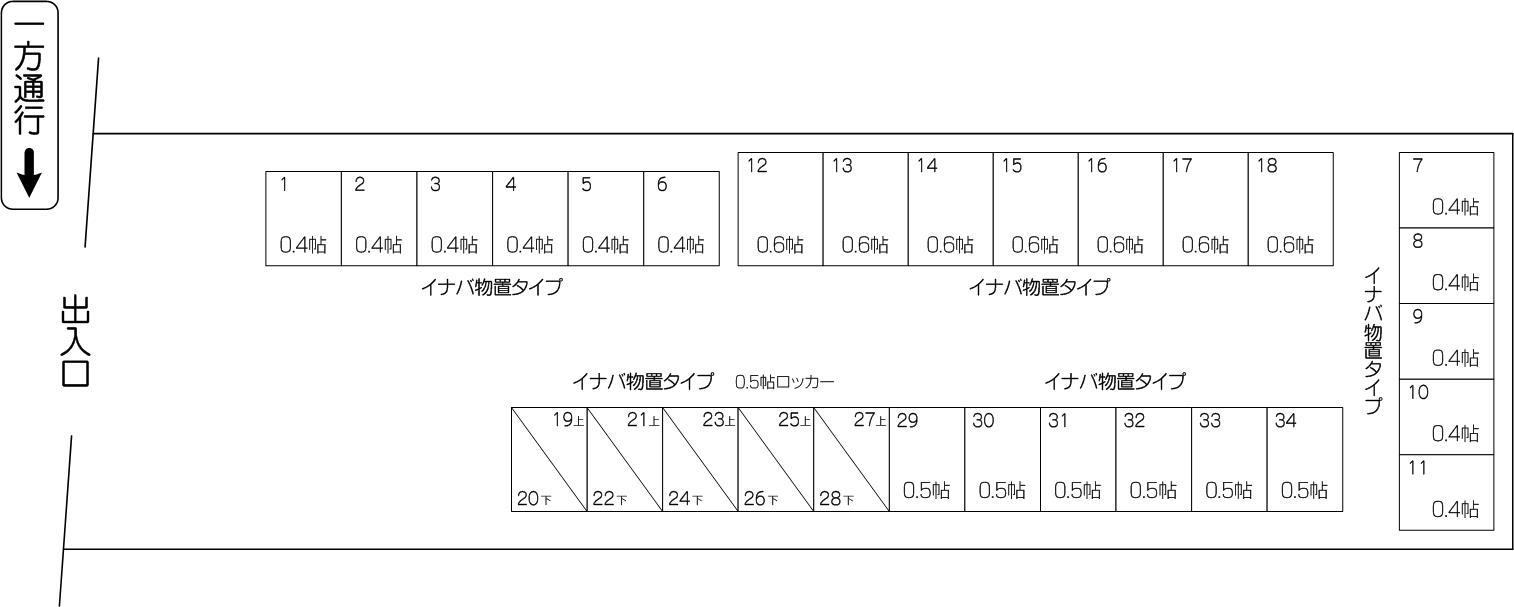 レンタルスペースi 氷川町店の配置図