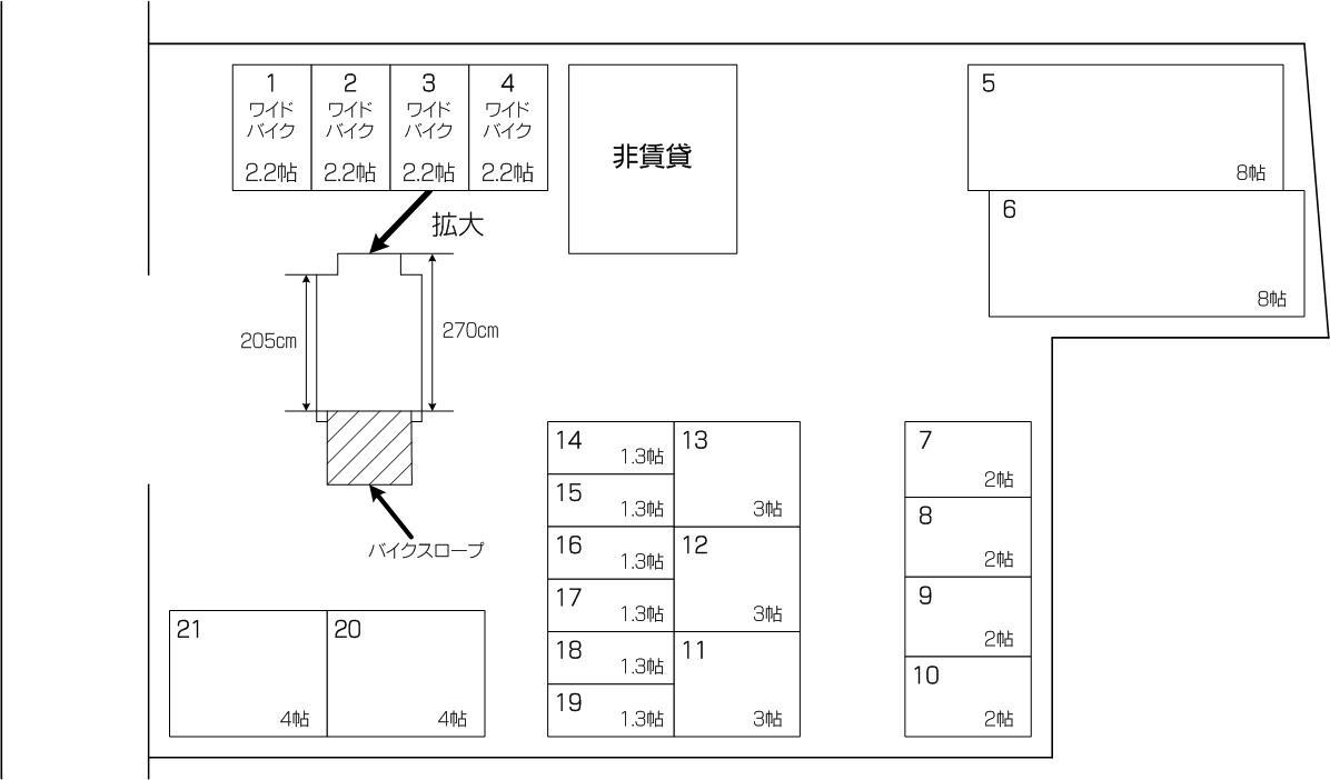 喜沢アウトレット店の配置図