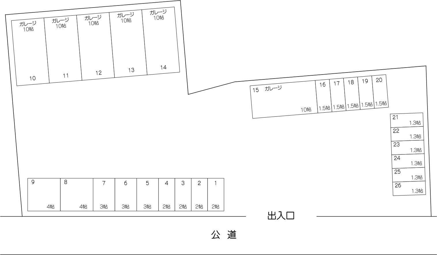 ガレージコンテナ戸田新曽南店の配置図